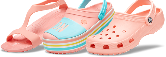 Women's Crocs Serena Sandal, Melon & Crocband™ Platform Bold Color Clog, Melon & Classic Clog, Melon