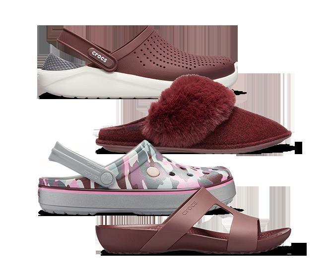 Classic Clog & Serena Embellished Flip & LiteRide™ Pacer & LiteRide™ Clog & Serena Slide in Burgundy.